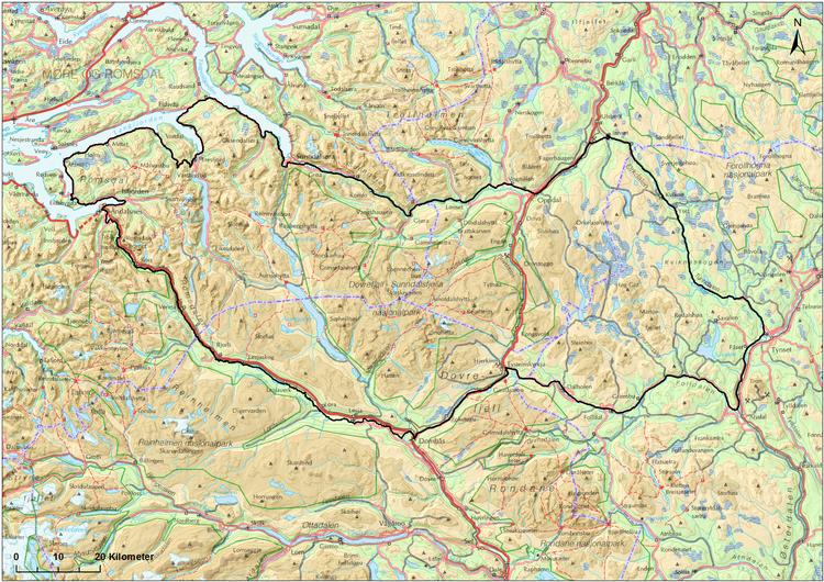 Forslag til avgrensing av planområdet/utredningsområdet, jfr. planprogram. (Trykk på kartet for større utgave.) Kartarbeid: Norsk Villreinsenter