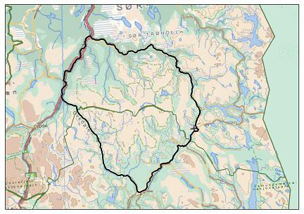 Forslag til avgrensing av planområdet/utredningsområdet, jfr. planprogram. Kartarbeid: Norsk Villreinsenter (NVS)
