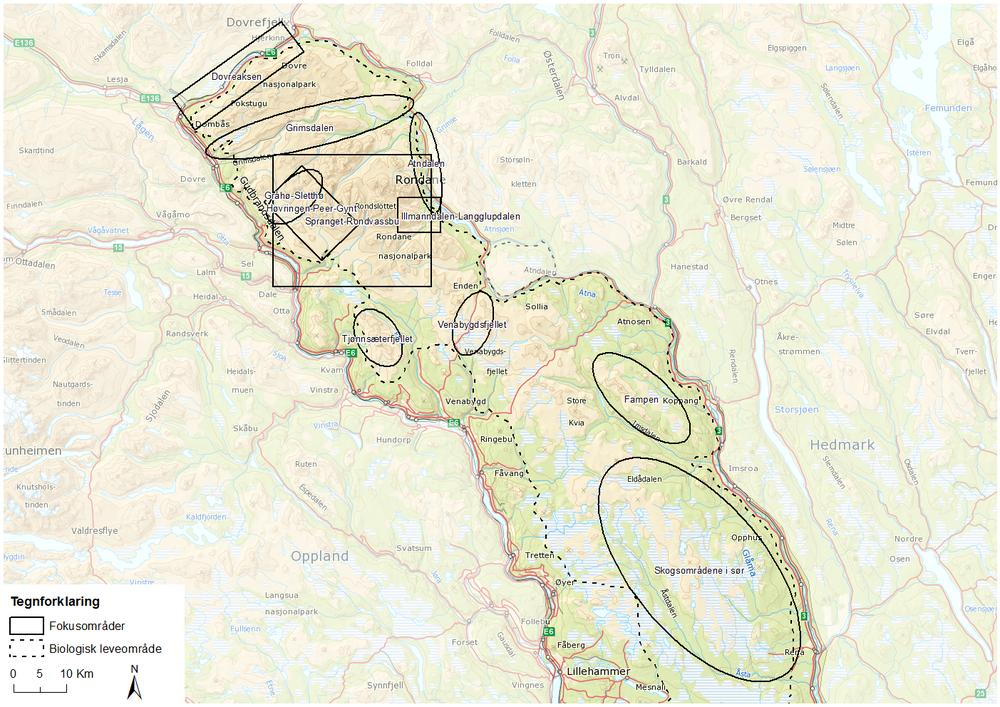 Figur 64. Foreslåtte fokusområder i Rondane.
