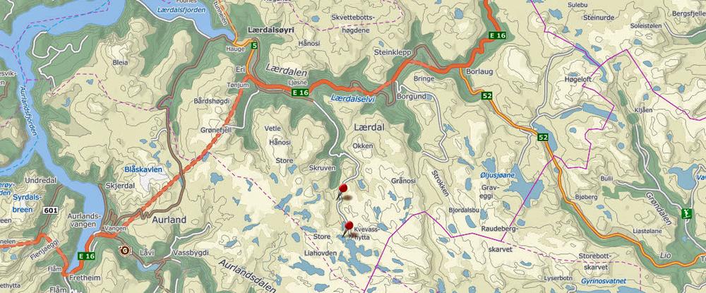 I statsråd fredag 13. februar 2015 ble det gitt konsesjon til bygging av Gravdalen kraftverk i Lærdalsfjella. Kartgrunnlag: Finn.no