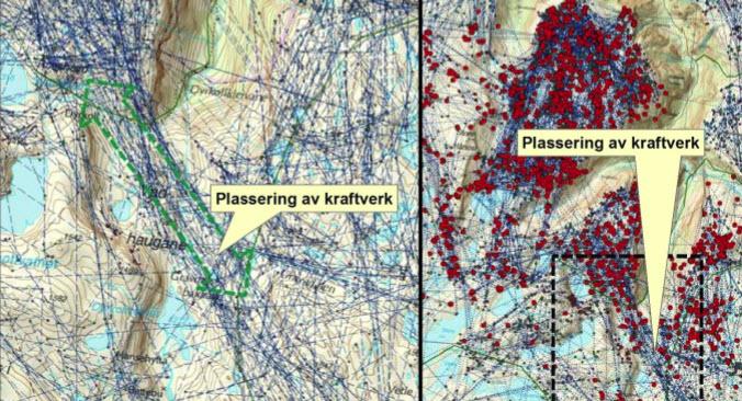 Illustrasjonen over viser plasseringen av Gravdalen kraftverk i forhold til GPS-dokumentert trekkrute (til venstre) og GPS-plott i kalvingsperioden inkl. linjer som viser trekk. Kartfigurene er hentet fra O. Strand et al. 2011