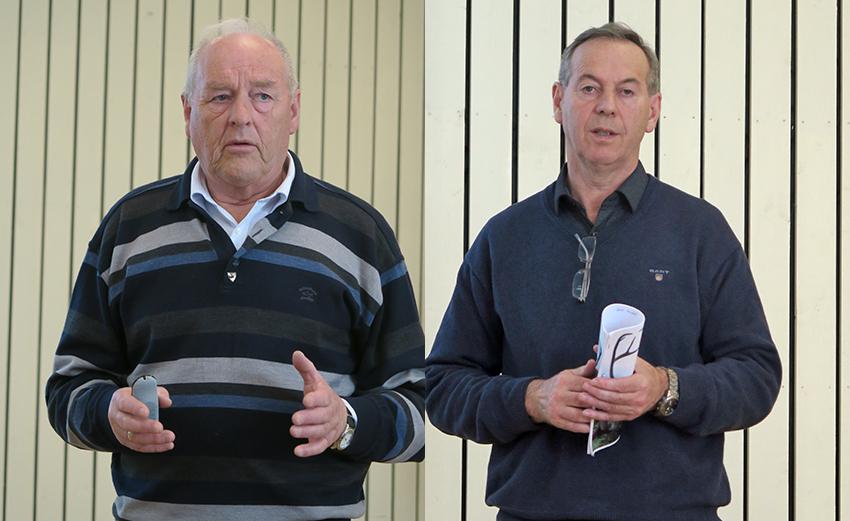 Erland Løkken (til venstre) er en markant og tydelig leder. Han ble gjenvalgt som leder i Snøhetta villreinutvalg. Arne Granlund har vært oppsynsleder i Snøhetta i en årrekke. Også han ble gjenvalgt av årsmøtet. Foto: Arne Nyaas
