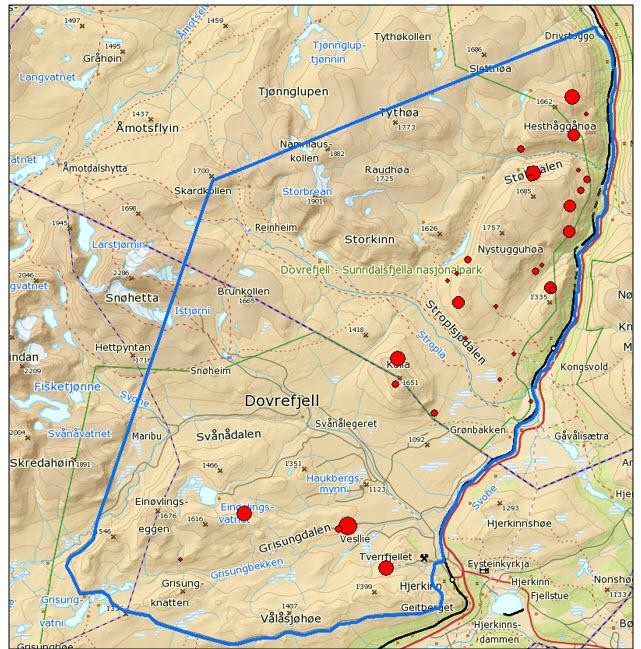 Kjerneområde for moskus og fordeling av registrert moskus vinteren 2015.