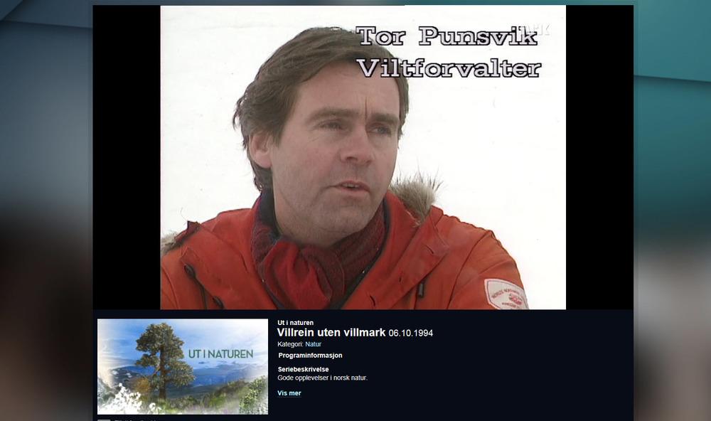 """""""Villrein uten villmark"""" (NRK1994) var det første store mediaoppslaget hvor hensynet til villreinens leveområde var i hovedfokuspå TV. Det menerTor Punsvik, som 21 år senerefortsatt er viltforvalter hos Fylkesmannen i Vest-Agder. Foto: NRK TV"""