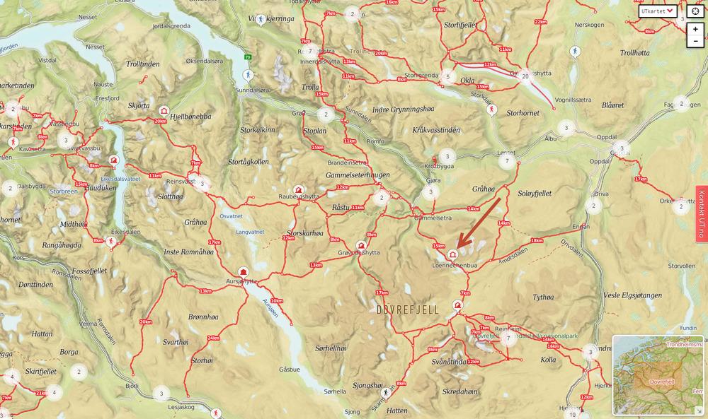 snøhetta kart Nye sjølbetjente turisthytter i Snøhetta? — Villrein.no   alt om  snøhetta kart