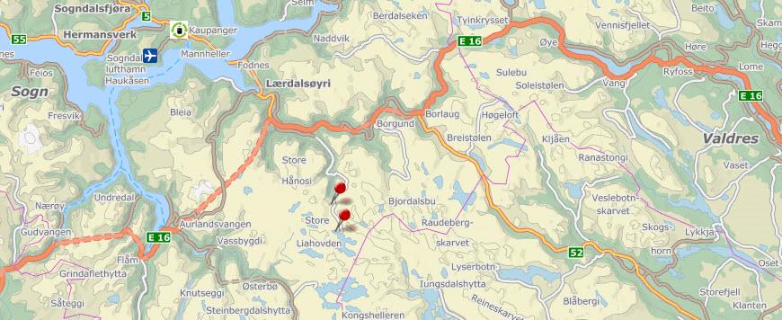 Østfold Energi stanser arbeidet med utbygging av Gravdalen Kraftverk i Nordfjella villreinområde. Utbyggingen er ikke lenger bedriftsøkonomisk lønnsom. Kartgrunnlag: Finn.no