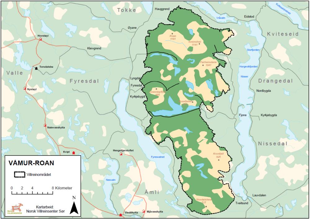 fyresdal kart Våmur Roan — Villrein.no   alt om villrein fyresdal kart