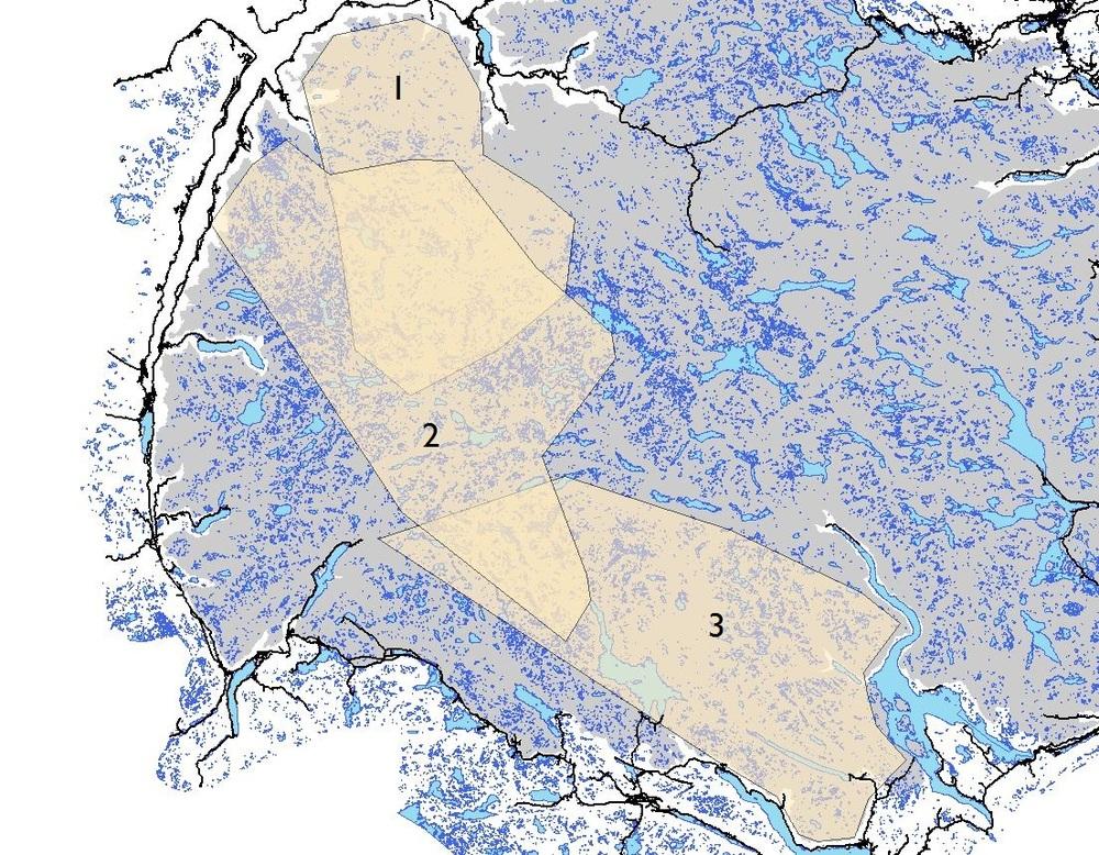 Figuren viser veldig grovt hvordan reinens kalvingsområder har endret seg i perioden fra midt på 1970-tallet til i dag. 1 markerer perioden fra 1976-1990. 2 markerer perioden fra 1990 til midt på 2000-tallet. 3 er de siste ti årene. Illustrasjon: NVS/Anders Mossing.
