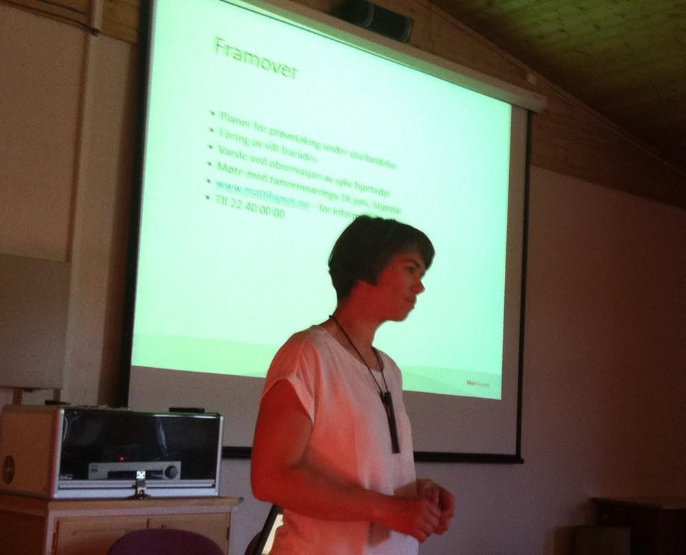 Ingeborg Stavne fra Mattilsynet fortalte om Mattilsynets rolle i forbindelse med CWD.