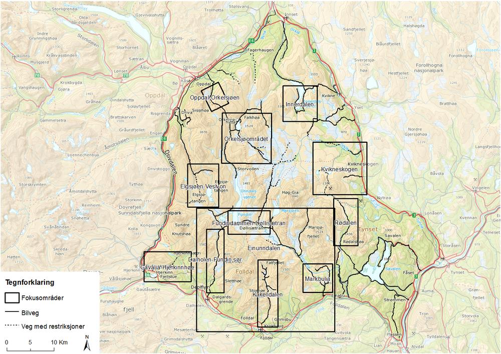 Fokusområder i Knutshø villreinområde.