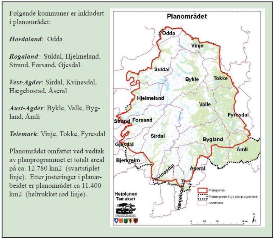 Planområdet (Kjelde: Regional plan for Setesdal Vesthei, Ryfylkeheiane og Setesdal Austhei).