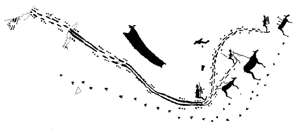 Ei helleristning frå Zalavrouga ved Kvitsjøen, frå eit austsamisk område, viser ein jaktscene truleg frå tidperioden ca 2000-15000 før Kr. Og sjølv om denne jaktscenen handlar om elg, viser ein tydleg korleis eit jaktlag kunne utføre drivjakt på ski. Spora fortel at jakta har gått føres seg i eit vekslande terreng der jegerane har kome på skothald i ein utforbakke og har avfyrt piler mot elgane. Illustrasjonen er henta frå boka til Birkely.