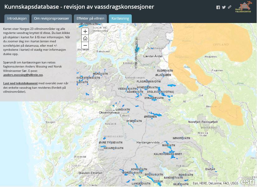 Kartløsningen/databasen i historien om revisjon av vannkraftkonsesjoner.