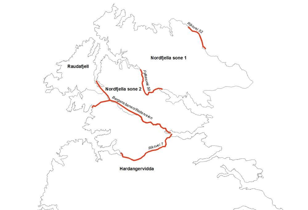 Grovskalakart over Nordfjella og Hardangervidda med beskrevne vei- og jernbanetraseer. Klikk for større versjon. Kartarbeid: Anders Mossing/Norsk Villreinsenter Sør.