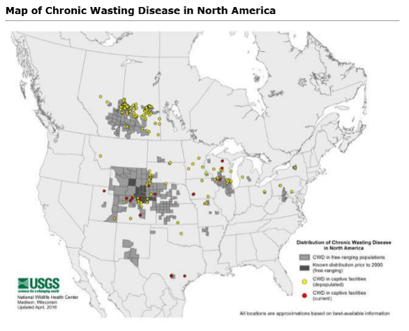 Utbredelse av Chronic wasting disease (skrantesjuke) i Nord-Amerika. KLIKK for større versjon.