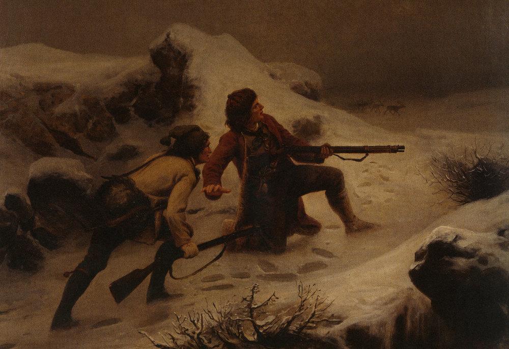 Illustrasjon: Knud Bergslien «Reinsdyrjakt», olje/lerret, 1868