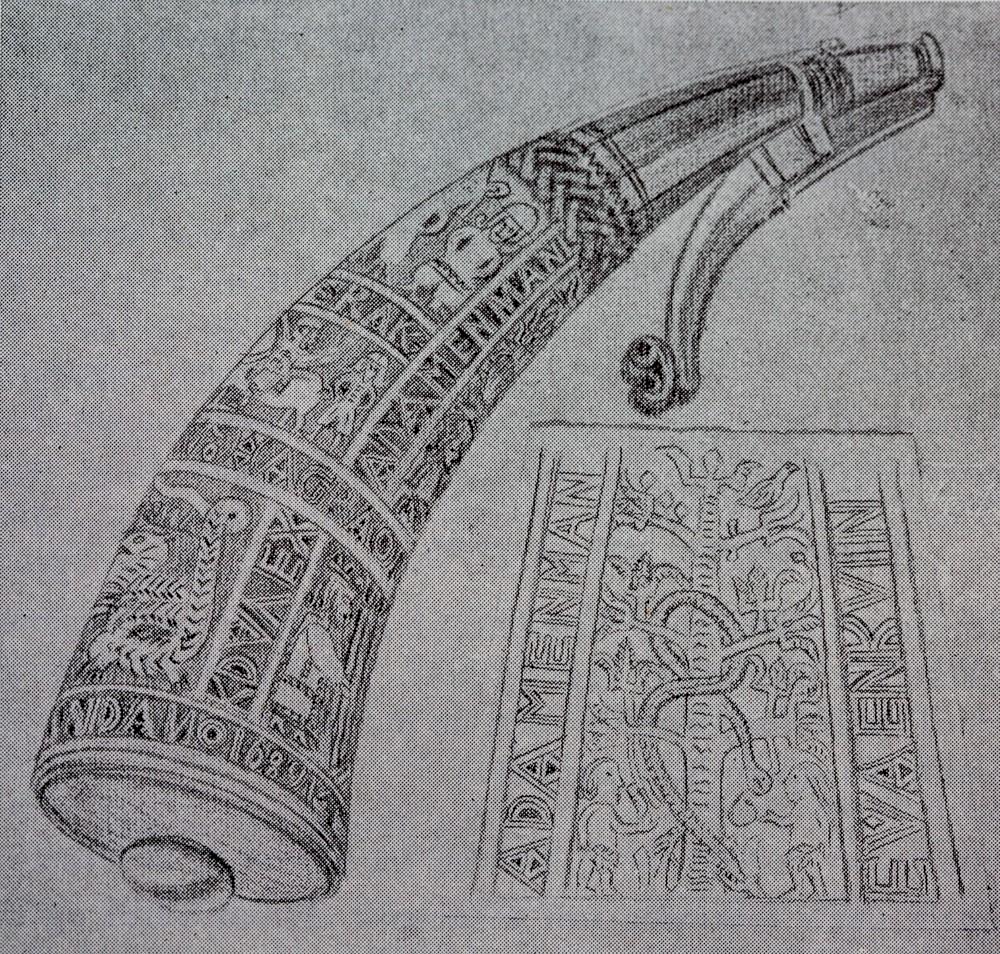 Utskore kruthorn med årstalet 1689, frå Fetveit i Vinje. Teikning: Øystein Vesaas