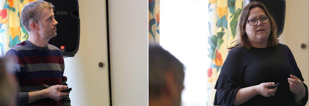"""Jørn Haug fra SVR og Gro Irene Svendsen fra Nore og Uvdal næringsselskap snakket om hhv. """"Kunnskap om villrein og villreinfjellet"""" og """"Tettere på villreinfjellet"""". Sistnevnte er et delprosjekt under """"Velkommen til villreinfjellet"""". Foto: Anders Mossing"""