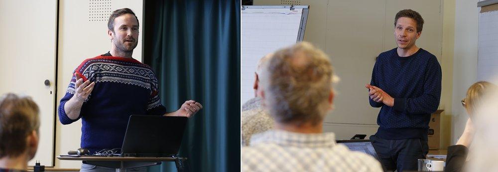 """Erlend Gjelsvik og Morten Aas fra Oppdal fylkeskommune presenterte prosjektet """"Villreinfjellet Rondane som verdiskaper"""". Foto: Anders Mossing"""