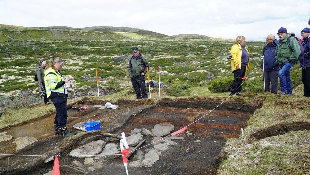 Utgravd hustuft. I midten skimtes bålplassen og øverst i høyre hjørne ses restene av tømmerstokker.