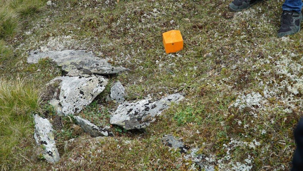 Stolpehull etter ledegjerder. Her markert med en oransje pyramide.