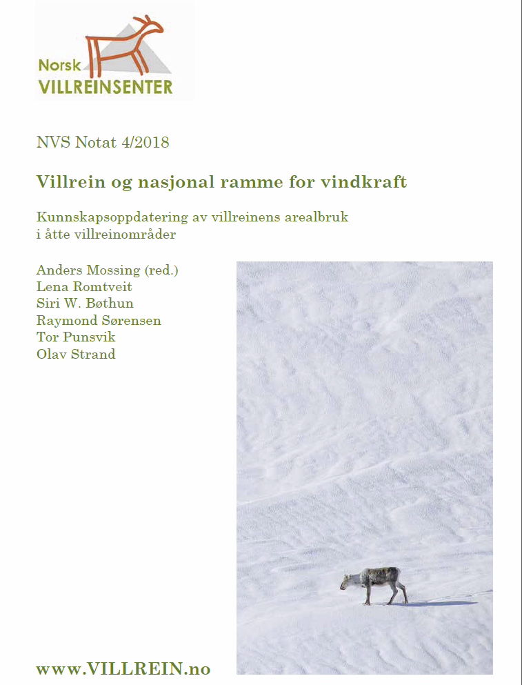 "Notatet ""Villrein og nasjonal ramme for vindkraft"" kan lastes ned her  (7MB)"