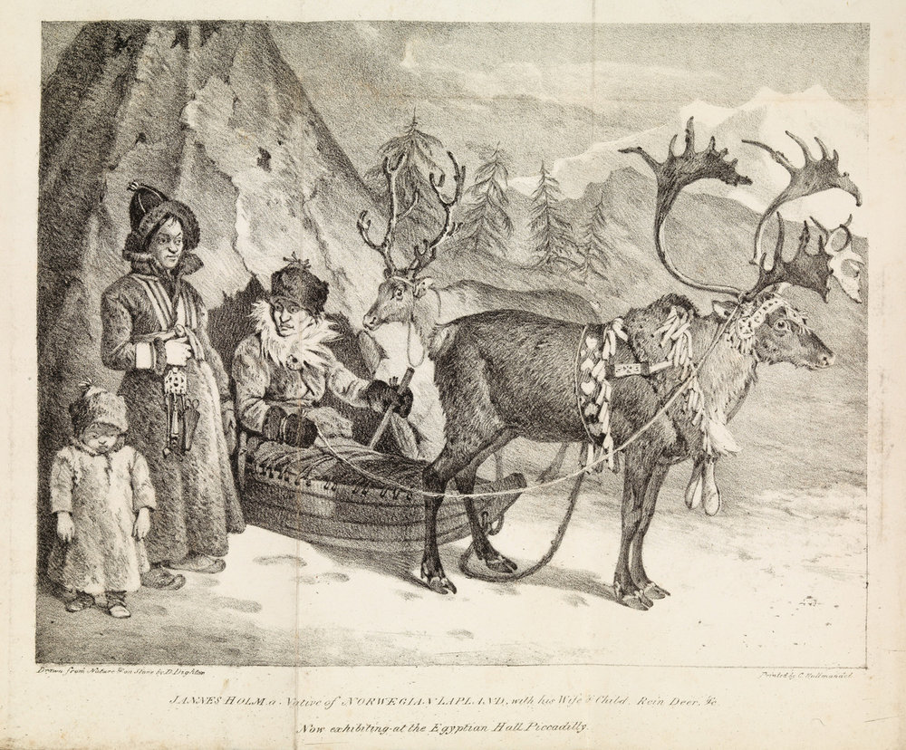 Grafisk trykk av engelsk opphav som viser samefamilien som kom frå Sirdalsheiane til London i 1822.