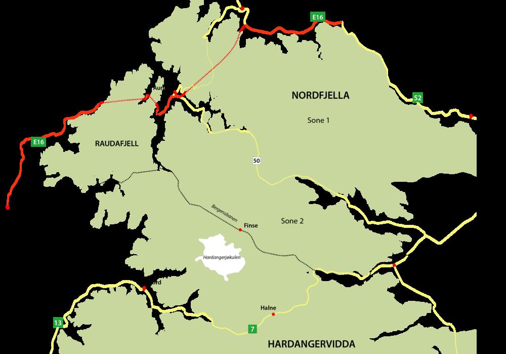 Grovt kart over området som viser Raudafjell, Nordfjella og Hardangervidda. Områdets avgrensning i kartet kommer fra Norsk villreinsenters leveområdekartlegging i forkant av den regionale planen for Nordfjella. Det omsøkte arealet avviker noe fra dette. Illustrasjon: Anders Mossing/Norsk villreinsenter
