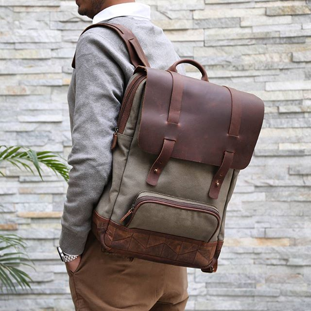 The #awesome otto #canvasleather #backpack in #olive and #navy.