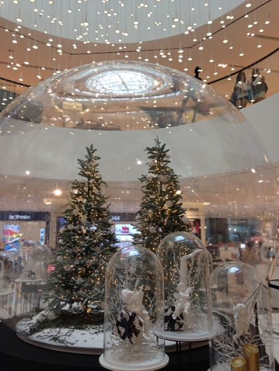 A giant snow globe greets you on the first floor!