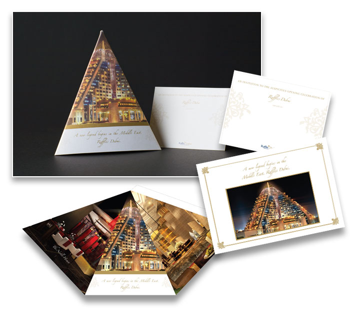 Invites for VVIP for Raffles Dubai grand opening in 2008. Credits : Anamics Creative Group