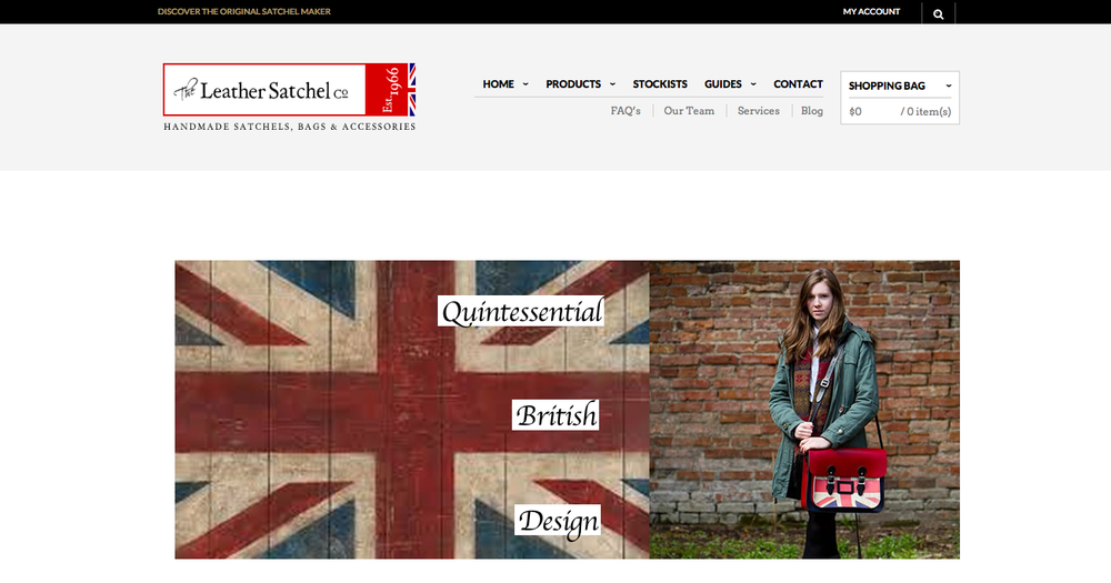 Homepage of The Leather Satchel Company.
