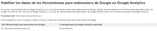 aprobar enlace entre google analytics y webmaster tools