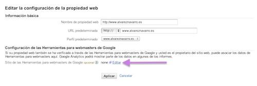 enlazar webmaster tools