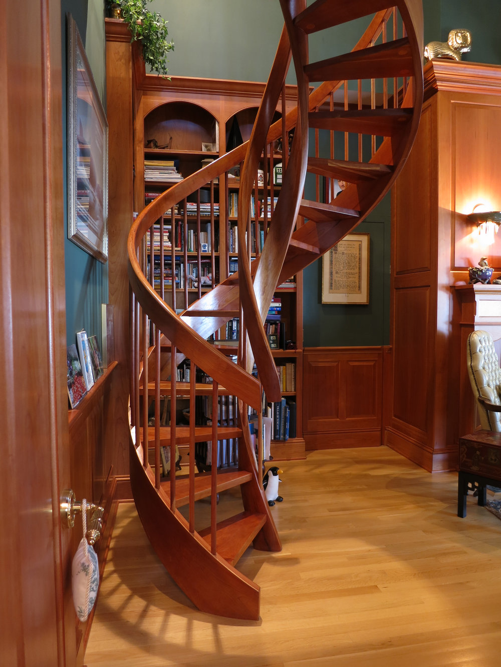 Even wood can be turned from straight to curved as shown in this double helix stair.  DBZ IMAGES