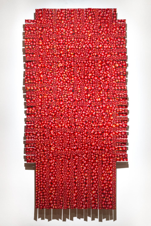 Hemoglobin, 2018.  Canneberges agencées, photographiées, arrangées en motif infini et imprimées. Image découpée en lannières et tissée. Tirages d'archive. 7' X 3.5'.