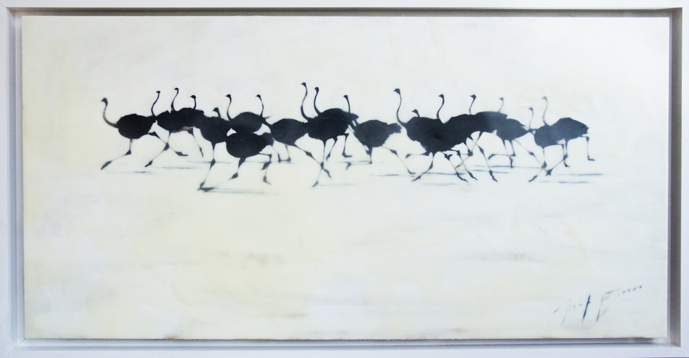Ostrich Forms in Encaustic, 24x48