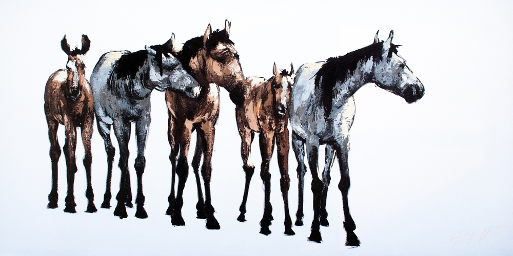 Five Horse on White, 36x72
