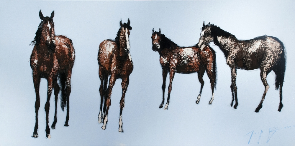 Four Standing Horse on Blue, 18x36