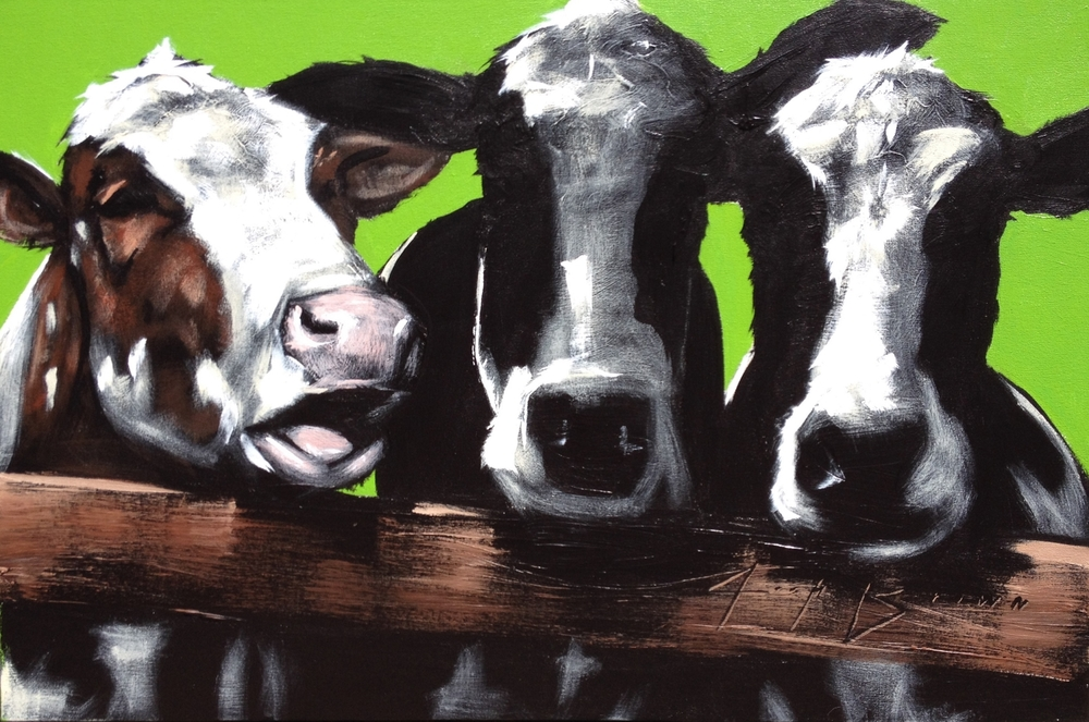 Three Cow on Green, 18x24