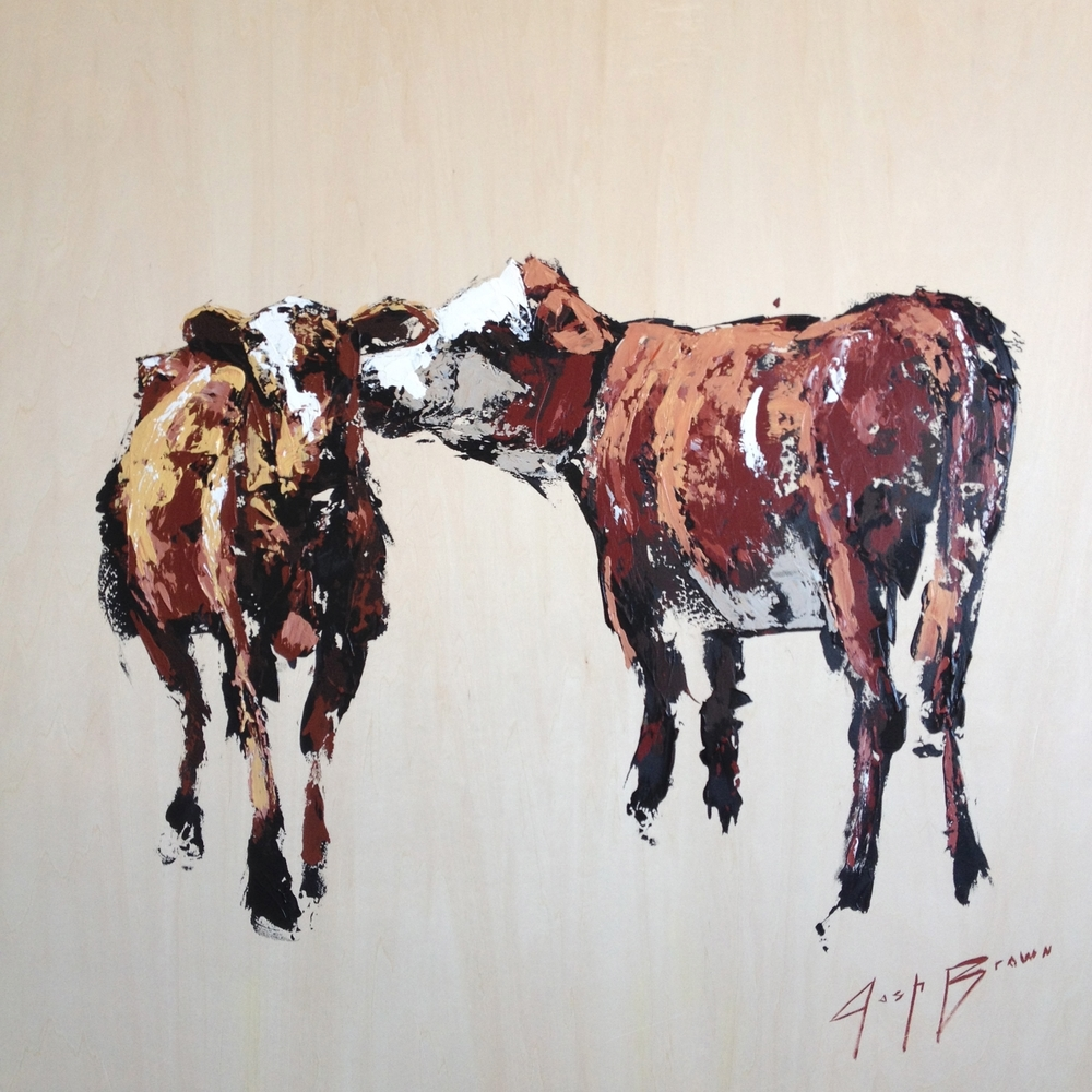 Two Cow on Panel, 36x36