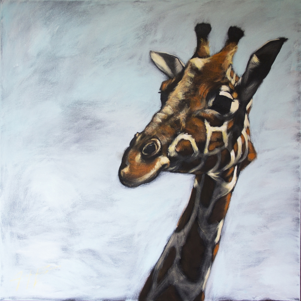 Giraffe on Haze, 48x48