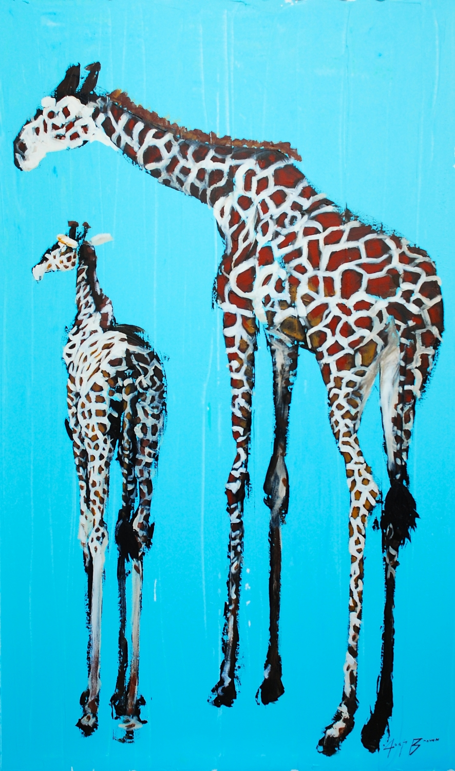 Two Giraffe on Blue, 24x36