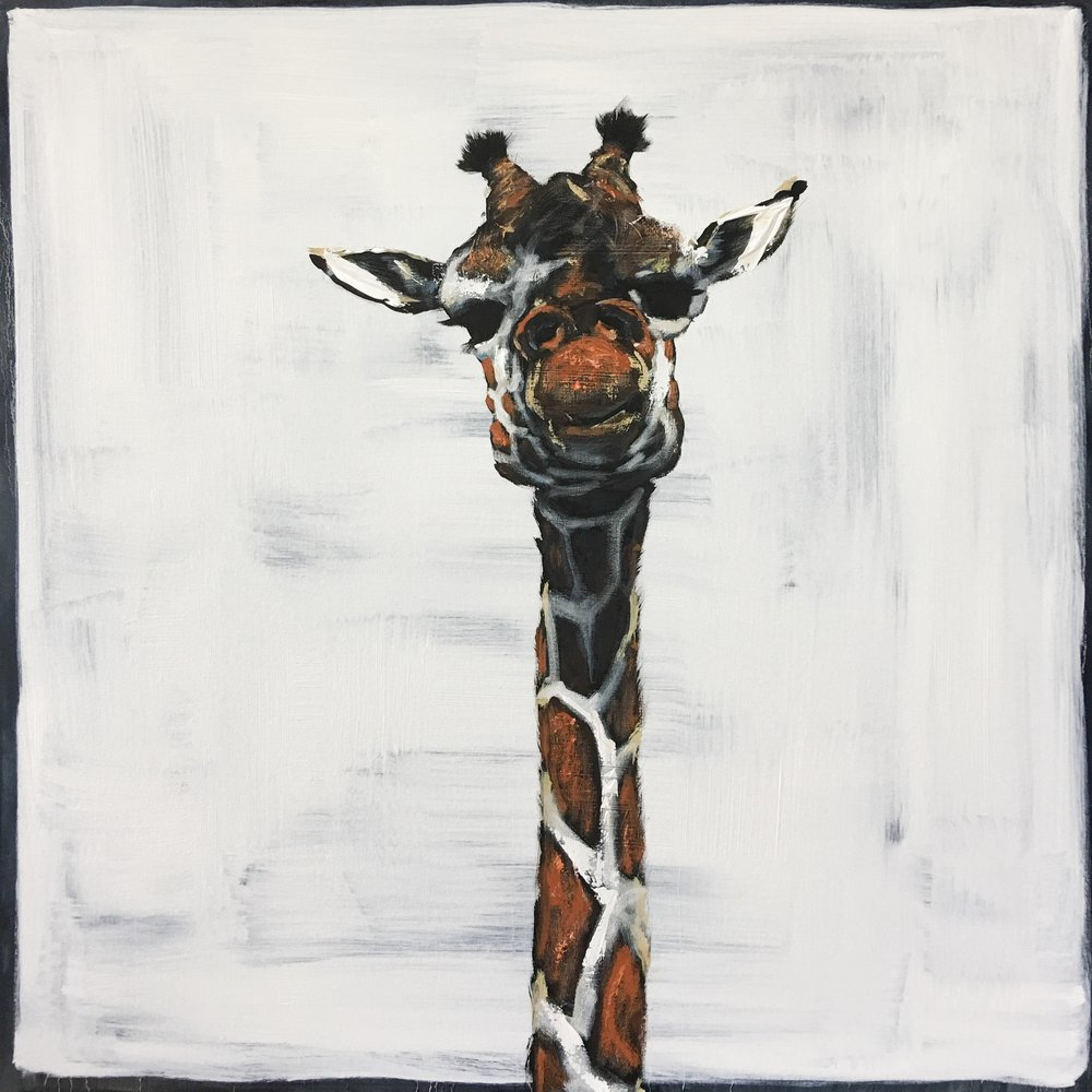Giraffe on Blue Square, 48x48, $3200