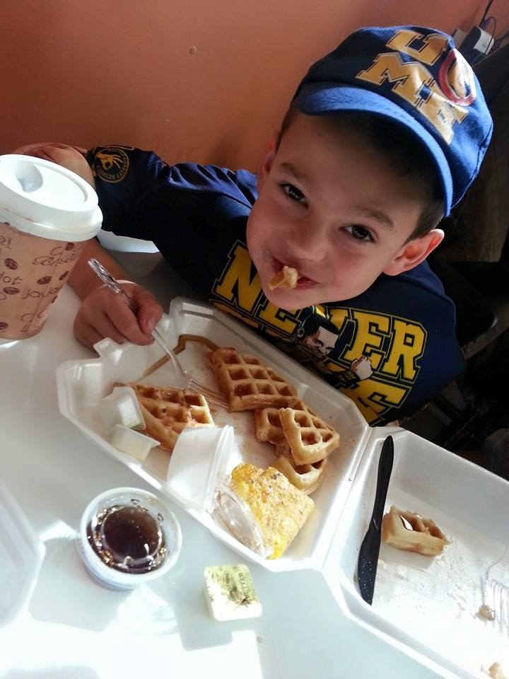 Customers big and small love our waffles.