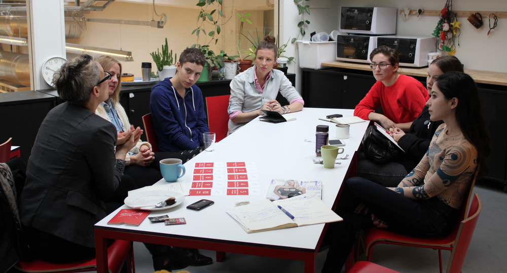 Becky talking through how to use the cards with young designers at Konstfack, Stockholm.