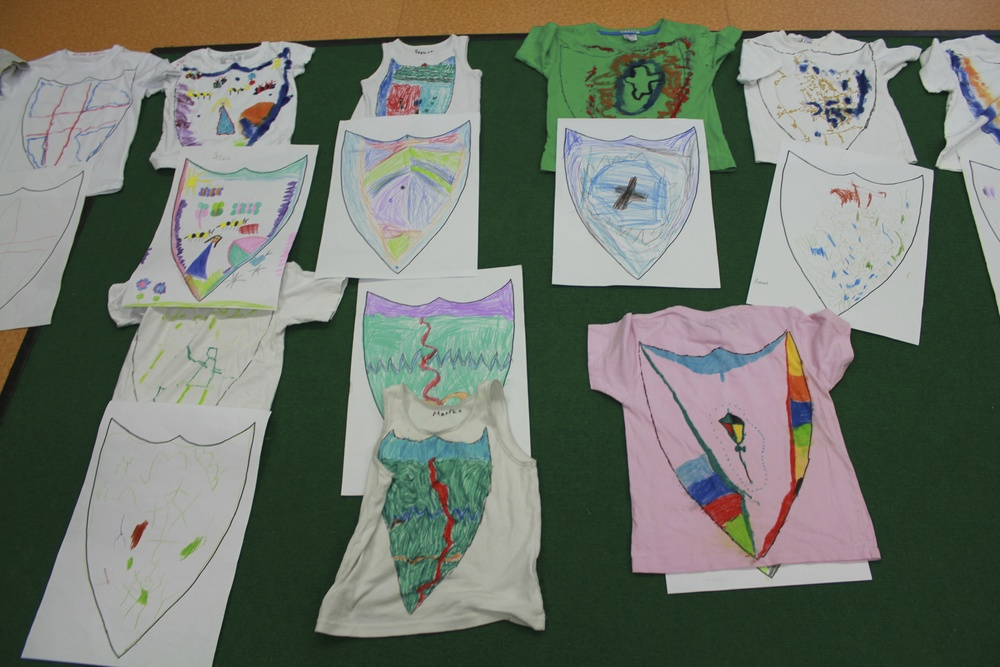 Reception class T-shirt upcycling with Mr O'Brien