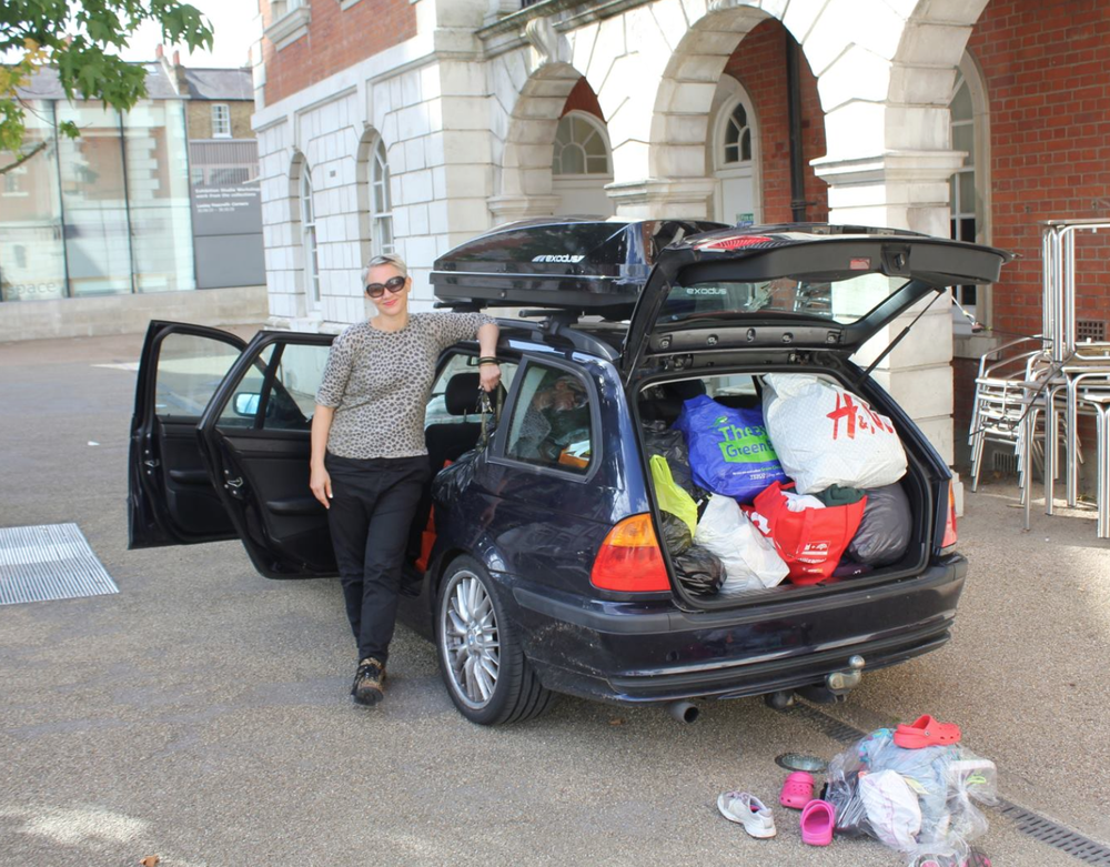 Chiswick, Chelsea, Calais: Car load number three ready to deliver to CalAid, for sorting and shipping to the refugee camps in Northern France. Donations from parents and staff included as many tents, sleeping bags, and waterproof clothes as possible. Staff even dug out the tarpaulin stall covers from the TransActing Values event this summer (see below) and sent those off to be used to construct shelters.