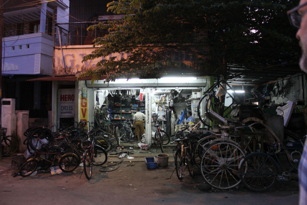 The late night bike repair shop, Fort Kochi
