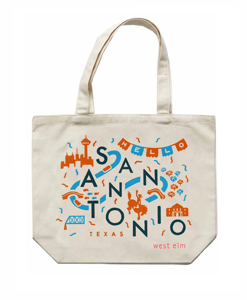 West Elm asking me to create a custom tote bag to celebrate the grand opening of there first store in San Antonio, TX. I gave them 3 rough options and they ended up choosing the one i liked the most.